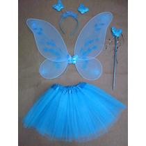 Fantasia Fada Infantil Borboleta Azul Com Saia