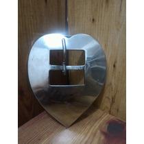 Fivela Inox Coração Tam Gg Larg 9.8cm-comp 11.2cm-passada4cm