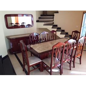 Sala De Jantar Com 08 Cadeiras E Aparador Mogno E Marmore Tr