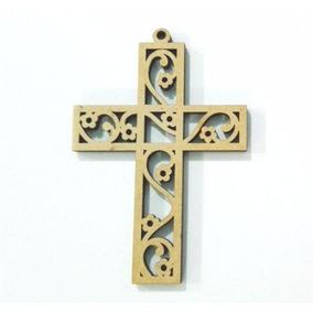 10 Cruces Flor Calada Fibrofacil Mdf Comunion Souvenir Cruz