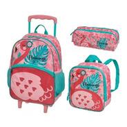 Kit Mochila Rodinhas +lanch +estojo Pack Me Flamingo Pacific