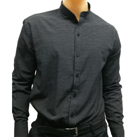 Camisas Cuello Mao Slim Fit Estampada Lunares Botón Negro