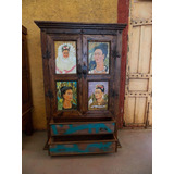 Armario Ropero Con Oleos Pinturas Frida Khalo Estilo Antiguo
