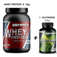 Whey Protein 1 Kg ( Proteína Pura ) + L - Glutamina 200 Gr. Body Advance