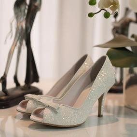 Peep Toe Para Noiva Branco - Laço