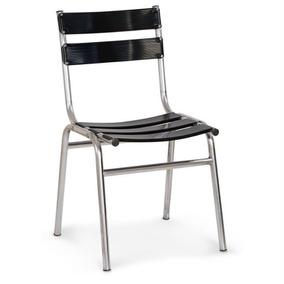 Cadeira De Alumínio Ca-440 Preto Casa Sala Jardim Cozinha