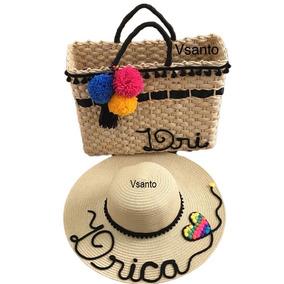Kit Com Bolsa E Chapéu De Praia De Palha Personalizados
