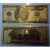 Cédula 100 Dólares Folhada A Ouro - Papel Moeda Coleção
