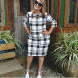 Vestido Feminino Xadrez Moda Plus Size Coleção Nova