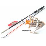 Caña De Pescar Fibra De Vidrio 210 + Carrete Aluminio 5 Ball