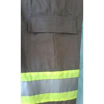 Calça Brim Elástico C/ Bolso Cargo + Faixa Refletiva Fabrica