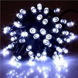 Pisca 100 Lampadas Led Branco Fio Verde 8 Funções E Luz Fixa