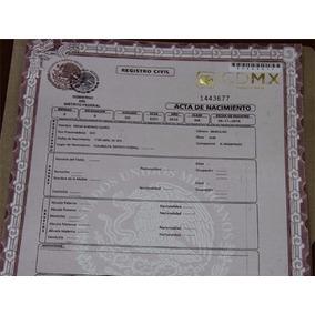 Acta De Nacimiento Cdmx Df Certificada
