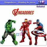 Kit 12 Display Mdf Vingadores Centro Mesa Festa Hulk 4,80un*