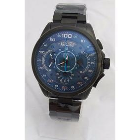 Relógio Masculino Tag Heuer Mercedes Benz Preto Fundo Azul