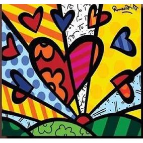 Quadro O Coração - Pintado A Mão - Releitura Romero Britto