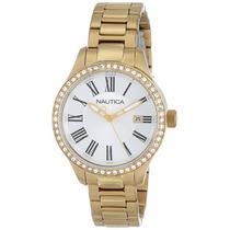 Reloj Nautica Swarovski Crystal Acero Dorado Mujer N16661m