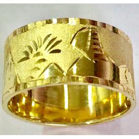 Anel Alianca Escrava Egipcio 10 Mm Ouro Amarelo 18k 750.