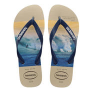 Chinelo Havaianas Masculino Hype Surf Praia Areia Bege Top