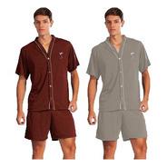 Kit 2 Pijama Curto Adulto Plus Size Malha Masculino Verão