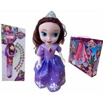 Boneca Sofia Disney 25cm Relógio Projetor Infantil Maquiagem