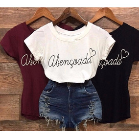 Camiseta Abençoada Curta Blusas Femininas Moda Instagram