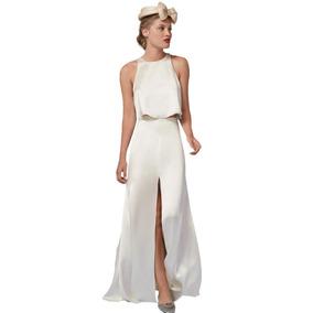 Vestido Mujer Importado Top Falda Larga Novia Casamiento