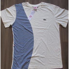 Camiseta Lacoste Live Original Peruana Oferta Listrada Bege