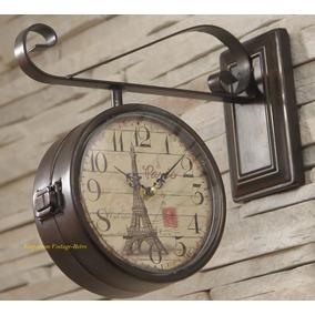 Relógio De Parede Estação Paris Dupla Face Vintage Retrô