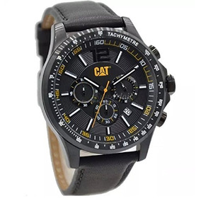 Reloj Cat Boston Para Hombre Negro Dial 44 Mm Negro Cuero