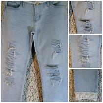 Calça Jeans Clock House 42 Cintura Baixa Customizada