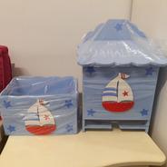 Pañalera Dispenser Pañales + Caja Portacosmetico Ajuar