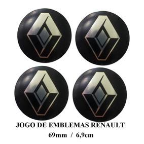 Jogo De Emblema Preto Altorelevo Renault 69mm P/calota Roda