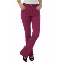Calça Jeans Flare Cintura Alta Feminina - Linda - Cor Vinho