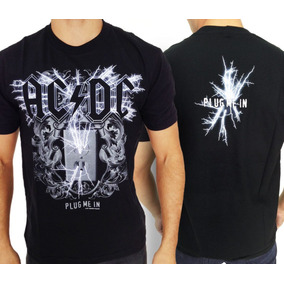 Camiseta Acdc - Plug Me In Camisa De Banda De Rock 100% Top