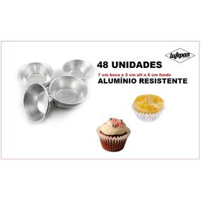 Forminha Para Cupcake Grande (7x3x5 Cm) 48 Unidades Alumínio