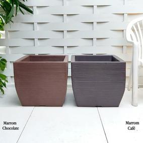 2 Vasos De Jardim Deck Modular Tratada Madeira Mdf G 45x50