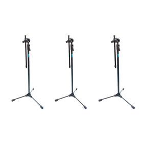 Suporte Pedestal P Microfone Ask Mgs Estante Girafa Kit 3 Pç