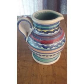 Jarra Ceramica Con Asa Pintada A Mano S/sello