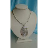 Cadena Espiga Con Medalla Virgen Milagrosa Plata Y Oro