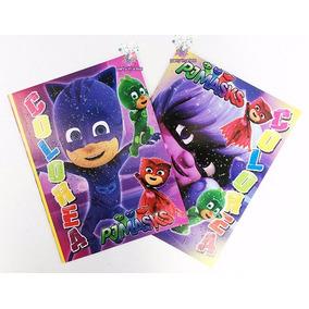 Libro Colorear T. Carta Fiesta Pj Masks Héroes En Pijamas