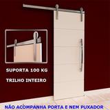 Kit Porta Correr Roldana Aparente Aluminio Trilho 1,50 Mts