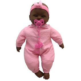 Boneca Bebê Recém Nascida Negra Rosa Tipo Reborn - Divertoys