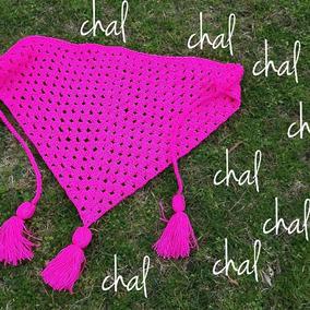 Chal / Bufanda Tejida A Crochet Con Borlas