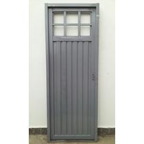 Puerta Chapa Simple C/postigo De Abrir 1/4 Vidrio 70/80x200