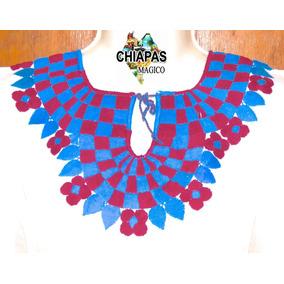 Blusa De Chiapas Bordada / Talla Xl / Manta Cuadros / M005 E