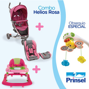 Combo Helios Rosa Carriola+andadera+rally+movil Prinsel