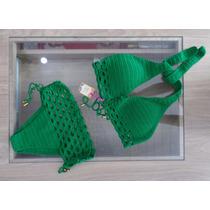 Biquíni Crochê Ana Luísa - Cortinão Calcinha Cos Alto Verde