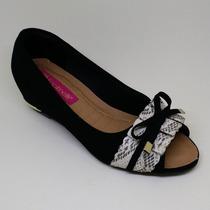 Sapato Feminino Salto Baixo Nobuck Preto Ref.: 4178