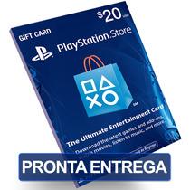 Cartão $20 Dólares Psn Card Us Playstation Network Ps3 Ps4